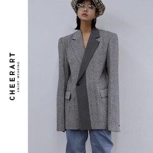 Image 1 - CHEERART Wool Blazer Designer Coat Women Blazers And Jackets Grey Patchwork Ladies Long Blazers Fashion Coat Autumn 2019