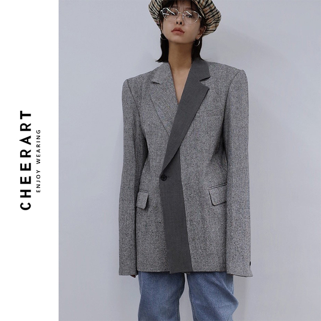 CHEERART Wool Blazer Designer Coat Women Blazers And Jackets Grey Patchwork Ladies Long Blazers Fashion Coat Autumn 2019