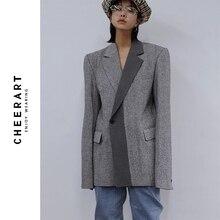 CHEERART yün Blazer tasarımcı ceket kadın Blazers ve ceketler gri Patchwork bayanlar uzun Blazers moda ceket sonbahar 2019