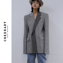 Cheerartウールブレザーデザイナーコート女性ブレザーやジャケットグレーパッチワークレディースロングブレザーファッションコート秋 2019