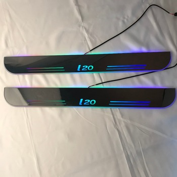 Osmrk led moving door scuff for hyundai i20 dynamic door sill plate flat lining overlays flowing/fixed light, 2pcs