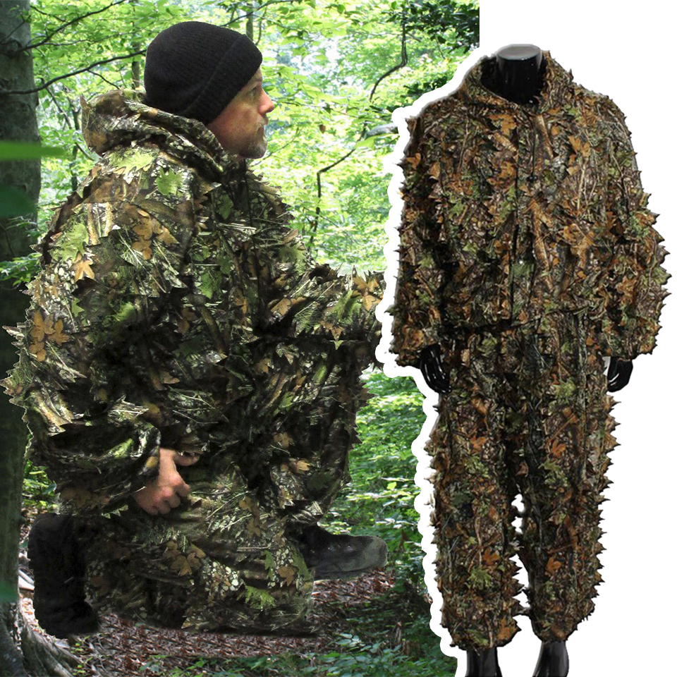 Ghillie Suits Hunting Clothes New 3D Maple Leaf Bionic Yowie Sniper Birdwatch Airsoft Camouflage Clothing Jacket And Pants 2019