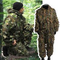 Trajes Ghillie ropa de caza nueva 3D hoja de arce biónico francotirador birdwatch airsoft camuflaje ropa chaqueta y pantalones 2019