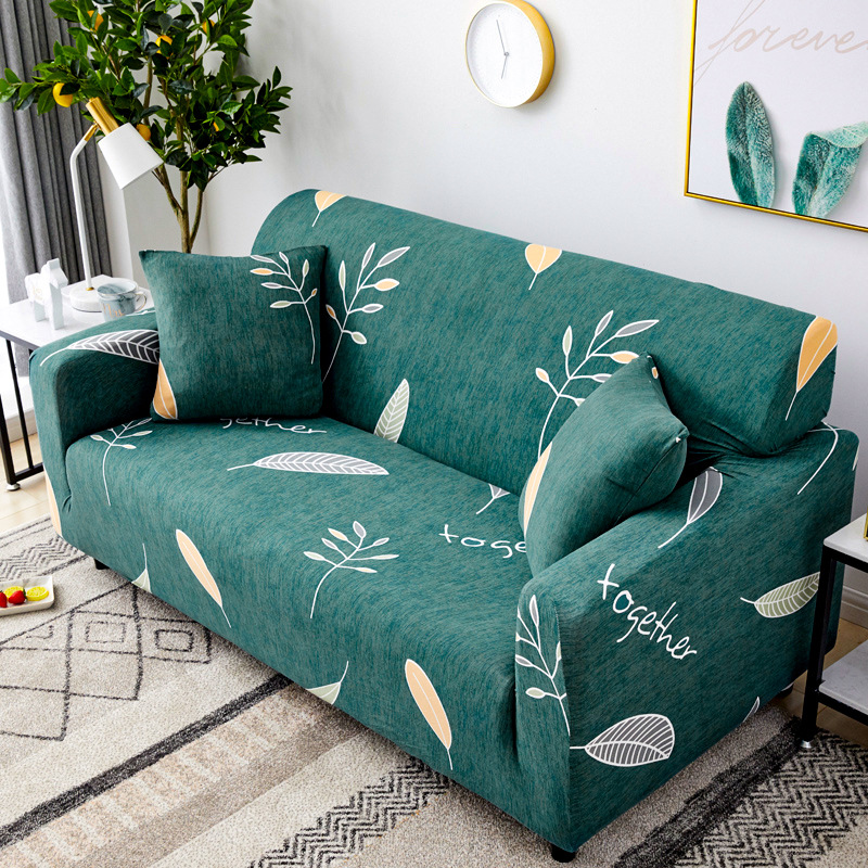 Green Leaves Stretch Sofa Cover For Living Room Armchair Couch Cover Slipcover Modern Stretch Elastic Sectional Sofa Cover Decor image