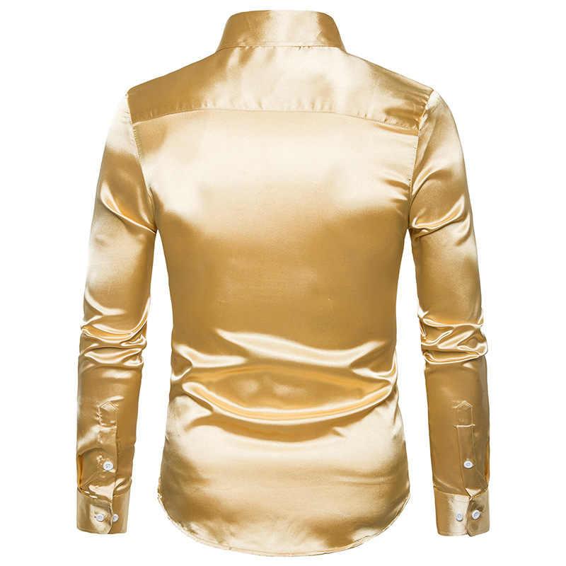 Hombre noche cantante disfraces personalidad gran tamaño seda brillante camisa de manga larga delgada para hombre actuación escénica camisa
