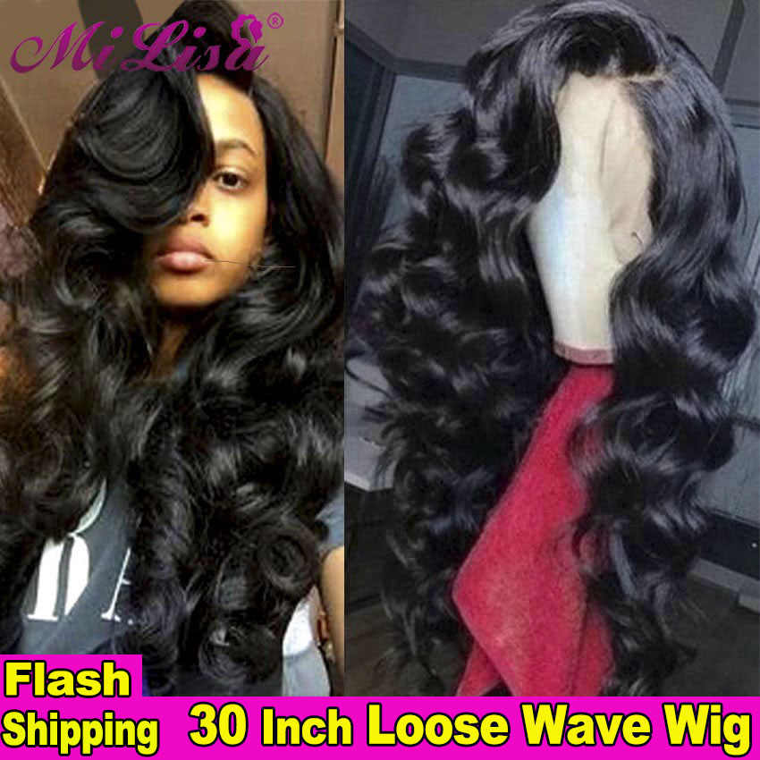 30 inch Wig Loose Wave Closure Wig Lace Front Human Hair Wigs For Black Women Pre Plucked Remy 13x4 Lace Frontal Wig Brazilian