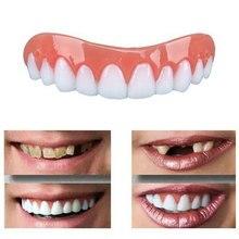 Fake Tooth Upper Lower Veneers False Teeth Snap-On Denture Bright White Shade Fake Braces Smil e Veneers Snap-on Cement