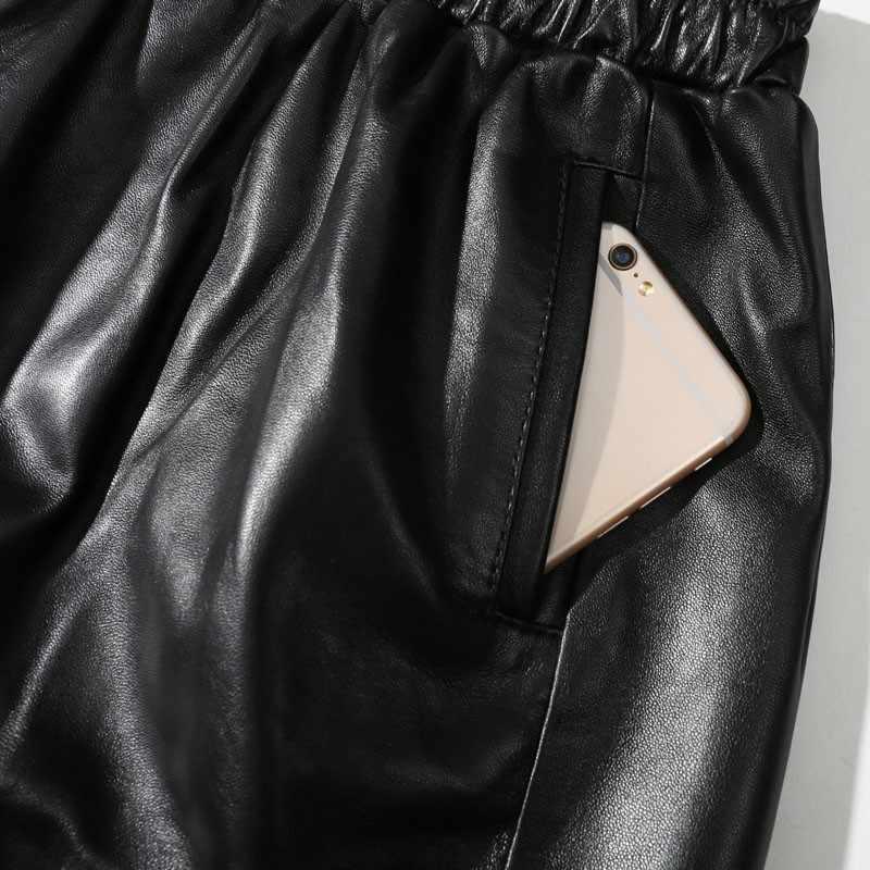 革のスカート、黒の女性のウエスト弾性膝丈ストライプシープスキン女性のスカート革シープスキンの女性のスカート