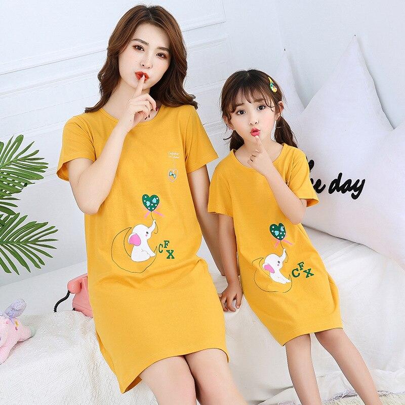 New Summer Cotton Women Night Dress Princess Nightgowns Girls Unicorn Sleepwear Nightwear Cartoon Short Sleeves Nighty Gecelik 2