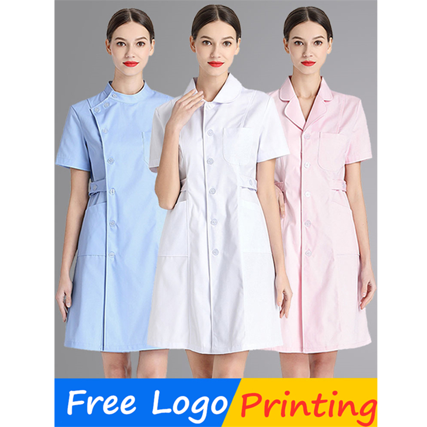 Medical Scrubs Uniforms Free Logo Printing Hospital Nurse Lab Coat Summer White Pharmacy Clinic Beauty Salon Work Wear