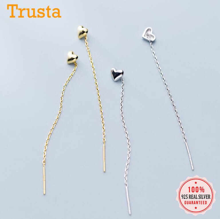 Trustdavis Genuine 925 Sterling Silver Smooth Surface Heart Linked 10cm Ear Line For Women Fashion Silver 925 Jewelry DS2172
