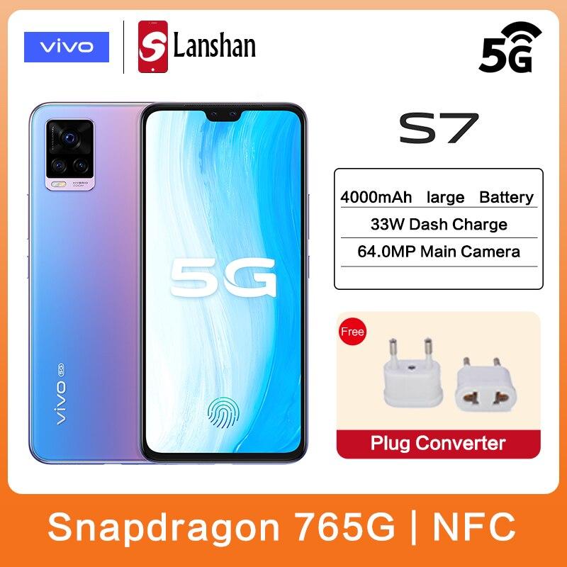 Подлинный vivo S7 5G мобильный телефон Snapdragon 76 5G 44.0MP спереди + 64.0MP сзади Камера 33 Вт тире зарядки мобильного телефона Android