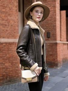 Image 3 - AYUNSUE Leather Jacket Natural Wool Fur Coat Winter Jacket Women Genuine Sheepskin Coat Female Streetwear Bomber Jackets MY4592