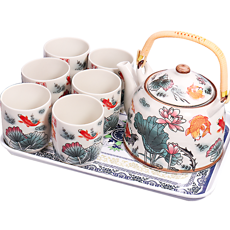 Japanese Ceramic Tea Set 7 Pcs Retro Creative Household Blue and White Porcelain Cup Office Tea Ceremony Set Ritual Gift MM60CJ