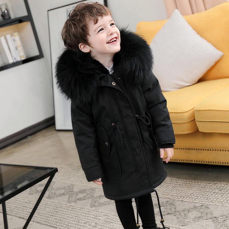 Детские куртки для мальчиков и девочек с большим меховым воротником, со съемной подкладкой пальто зимняя шуба из искусственного меха кроли...