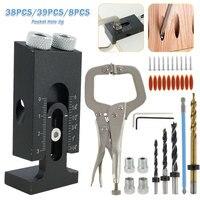 Plantilla de tornillo de agujero de bolsillo, posicionador de punzón de 15 grados, herramienta de ángulo de guía de carpintería, Kit de soporte de orificio oblicuo