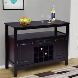 Элегантные твердые МДФ классический Мультифункциональный деревянный винный шкаф стол 12 Винный Стеллаж две полки шкафа и ящик HW55015