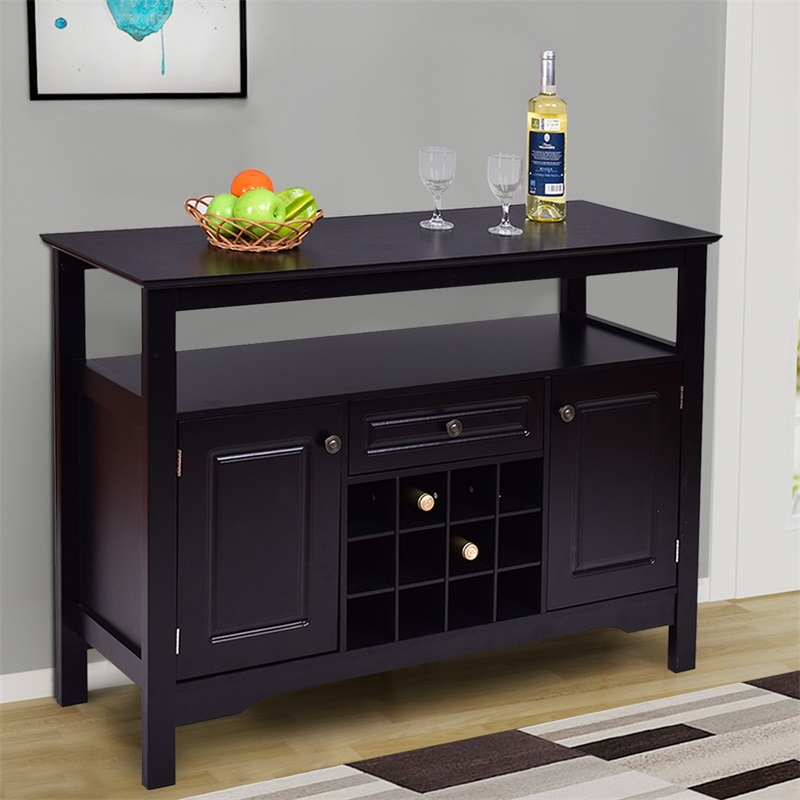 Elegant Solid MDF Classical Multifunctional Wooden Wine Cabinet Table 12 Bottles Wine Rack Two Cabinet Shelf And Drawer HW55015