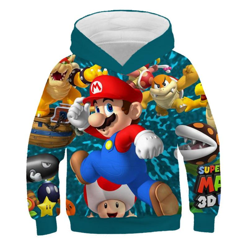 3D Printed Children's Hooded Sweatshirt Game Super Mario Printed Cartoon Children's Hooded Sweatshirt Children's Sports Sweater