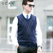 UCAK Brand Pure Merino Wool Sweater Vest Casual Striped Streetwear Business Pure Merion Wool 2019 Autumn Winter Sweaters U3106