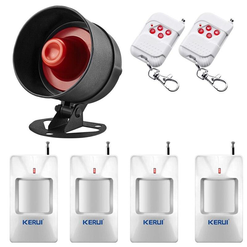 kerui sirene sistema de alarme instalacao simples infravermelho conexao do sensor controle remoto conjunto protecao seguranca