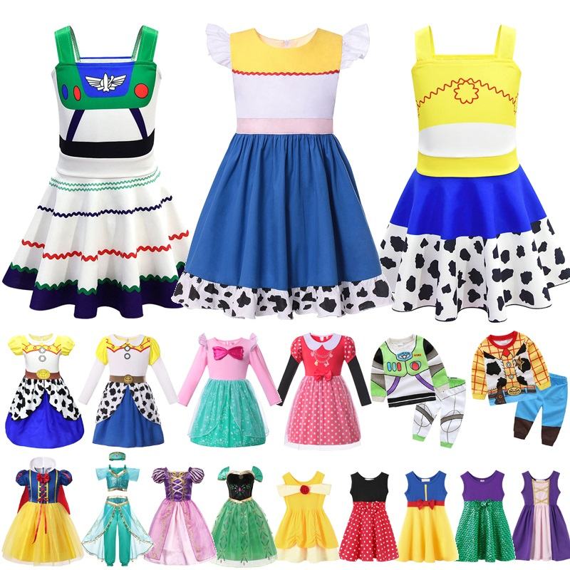 MUABABY Girls Halloween Fancy Princess Costume Summer Toy Story Snow White Jasmine Rapunzel Minnie Ariel Party Dress Up Clothes
