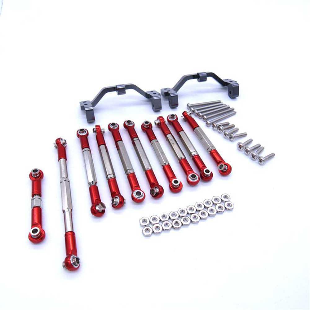 For WPL C14 C24 RC Car Pick-up Semi Truck Upgrade Parts Metal Pull Rod Connecting Rod Holder Titanium Red Tie Bar Tie Rod Mount