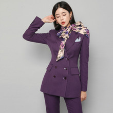Drop shipping Elegant Double-breasted Purple Women Pant Suit Slim Women Blazer