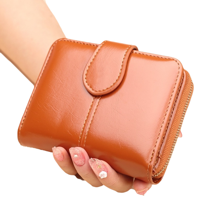 Short Purse Women's New Style Oil Wax Leather Coin Bag Cross Border Small Wallet Oil Skin Clutch Hot Selling Wholesale Y688