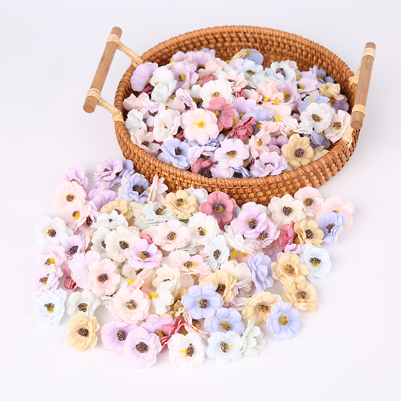 100 Pcs/3cm Multicolor Mini Daisy Silk Artificial Flower DIY Party Christmas Wreath Home Wedding Decoration Artificial Flower-0