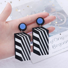 Brinco Acrylic 2019 Top Fashion Women Earing New Square Stripe Stitching Earrings Female Simple Long Boucle D Oreille