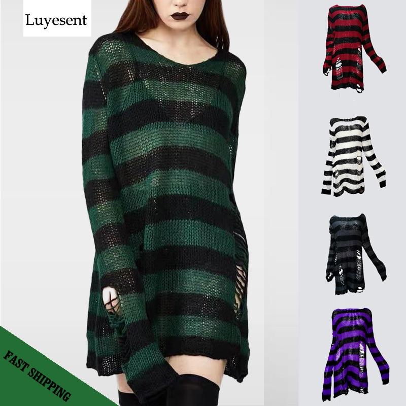 Plus Größe Punk Gothic Lange Unisex Pullover Kleid Frauen Mann Striped Kühle Aushöhlen Loch Gebrochen Jumper Lose Rock Dünne sweter 2020|Pullover|   - AliExpress