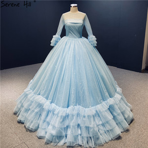 Image 1 - O Neck Blue High end Sexy Wedding Dresses 2020 Long Sleeve Ruched Tiered Bride Gowns Serene Hill DHA2316 Custom Made