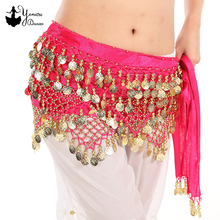7 Colors High Quality Belly Dance Hip Scarf Triangle Multiple Gold Coins Waist Chain for Bellydance Practice Clothes Accessories