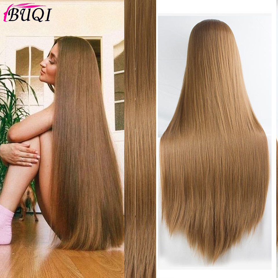 BUQI Long Silky Straight Hair Synthetic Wig Ash Blonde Part Cosplay Wig 100 Cm Synthetic Hair Wigs