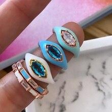 Marquesa esmaltada en forma de ojo para mujer, anillo de dedo, Color dorado, colorido, joyería de verano, blanco, azul, púrpura, Rosa