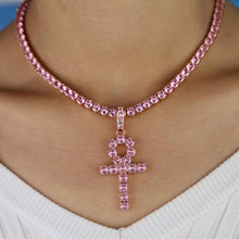 4mm Pink Iced Crystal rhinestone Ankh Cross Pendant Cubic Zirconia Tennis Chain Gold Silver Color Necklace Fashion Hiphop Jewel cute rabbit style rhinestone pendant necklace pink silver