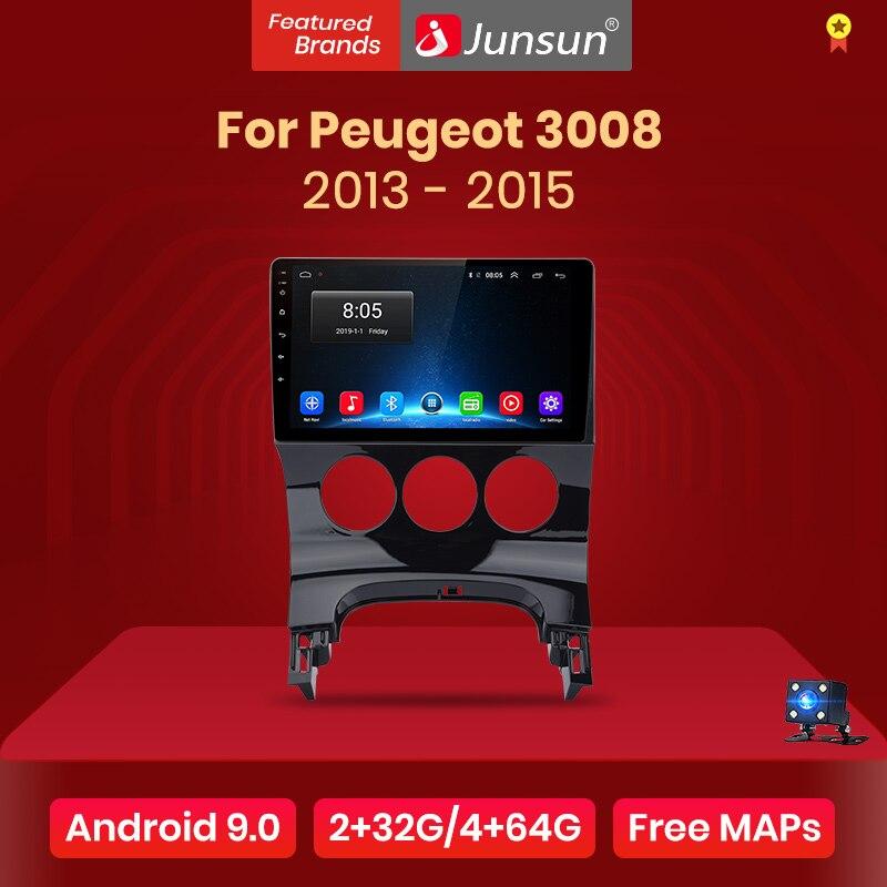 Junsun v1 2g + 32g android 9.0 para peugeot 3008 2013-2015 rádio do carro reprodutor de vídeo multimídia navegação gps 2 din dvd