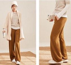 Женские модные широкие брюки из козьего кашемира и шерсти, длинные брюки, S-XL, опт и розница