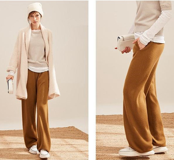 Goat Cashmere Wool Knit Women Fashion Wide Leg Pants Full Length Trousers S-XL Retail Wholesale Customize