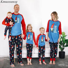 Family Christmas Pajamas Autumn Winter Tree and Hats Printed Clothing Set Sleepwear Mommy me clothes C0520