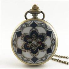 GENBOLI 1шт цветочный узор старинные антикварные круглый циферблат кварцевые карманные часы кулон ожерелье часы для мужчин женщин Лучшие подарки