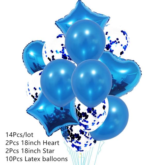 Ballons avec confettis en Latex, 14 pièces/ensemble, ensemble de ballons pour joyeux anniversaire, décoration pour fête prénatale, mariage, à Air