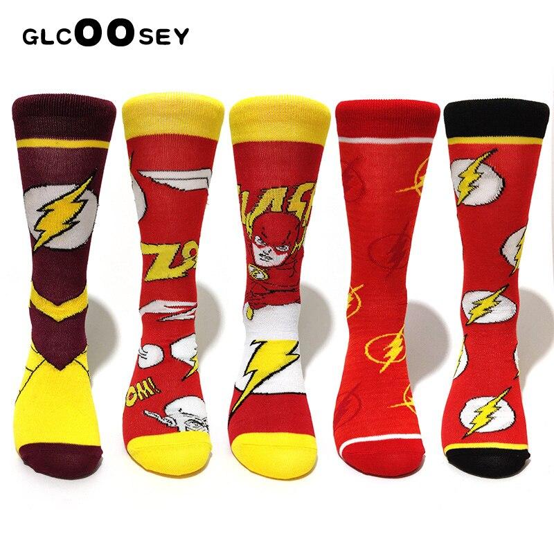5 Pairs / Pack The Flash Long Socks Party Cosplay Socks Men Stocking DC Hero Novel Personality Skateboard Flash Mark