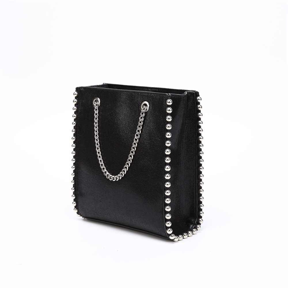 Hot Sale Retro Large Capacity Tote Bag Women Fashion Chain Rivet Shoulder Bags Lady Commuting Pu Leather Purses Bags Bag Bead