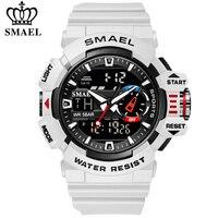 SMAEL-relojes deportivos militares para hombre, cronómetro de pulsera resistente al agua, con luz LED y alarma, digitales, con esfera grande, 8043