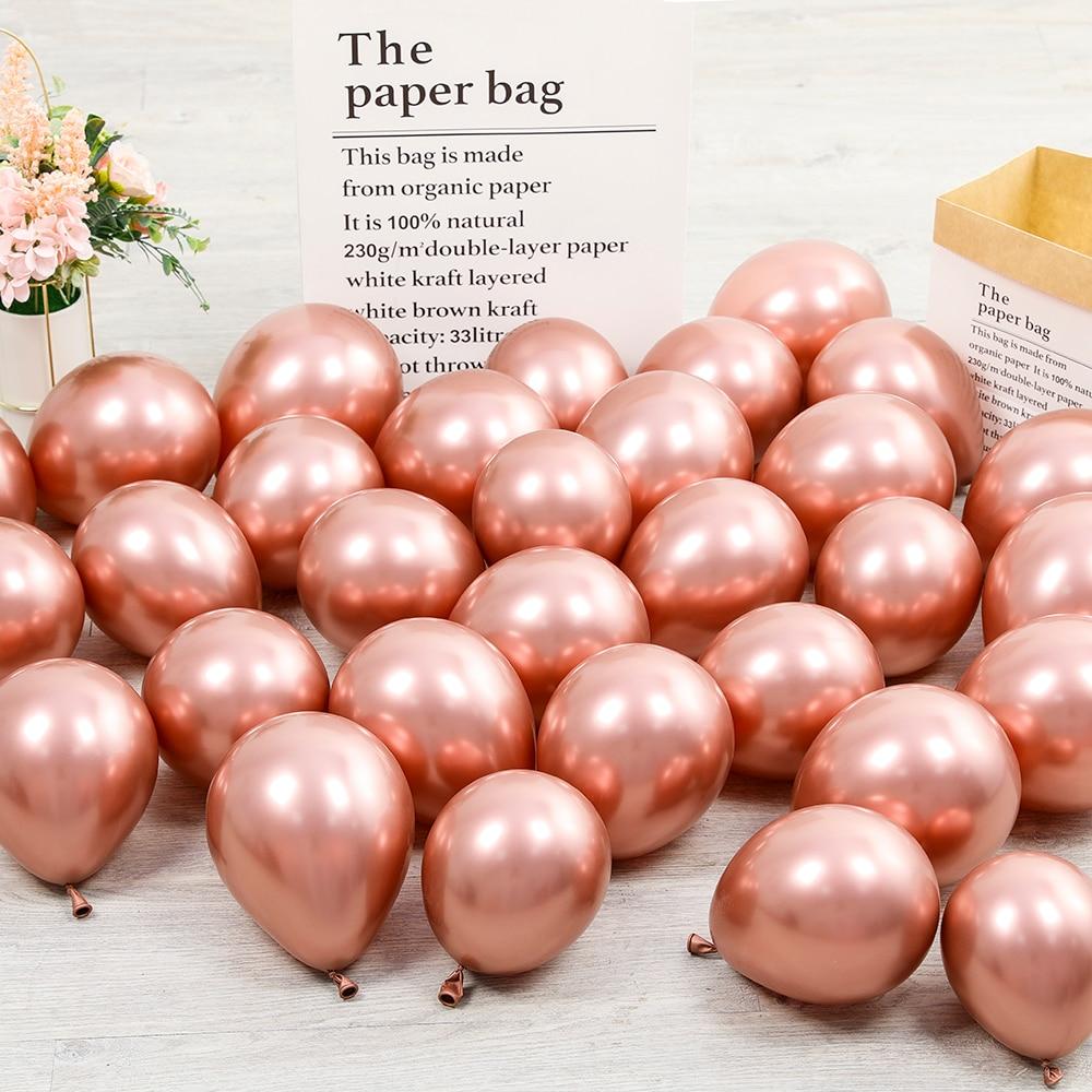 30 шт. 5-дюймовые хромированные шары из латекса цвета металлик, металлические розовые шары из розового золота для свадьбы и дня рождения вече...