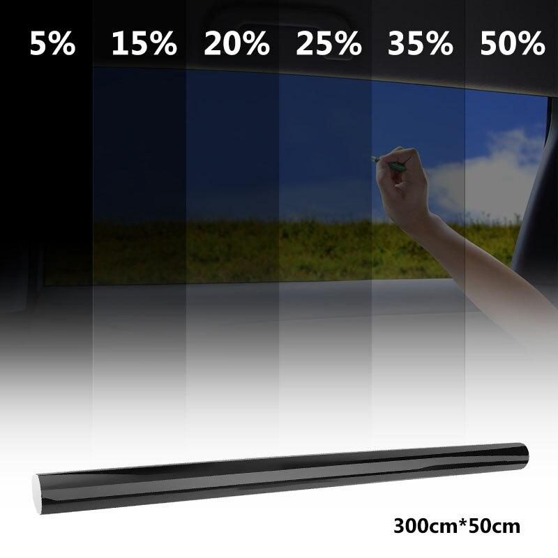 VODOOL 50cm X 300 CM สีดำรถฟิล์มกระจก 5%-50% ม้วนฤดูร้อนรถอัตโนมัติบ้าน Windows กระจก SOLAR Protection