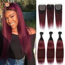 T1B/99J couleur rouge brésilien bourgogne cheveux raides paquets avec fermeture Applegirl Remy cheveux humains 2/3/4 Ombre faisceaux et fermeture