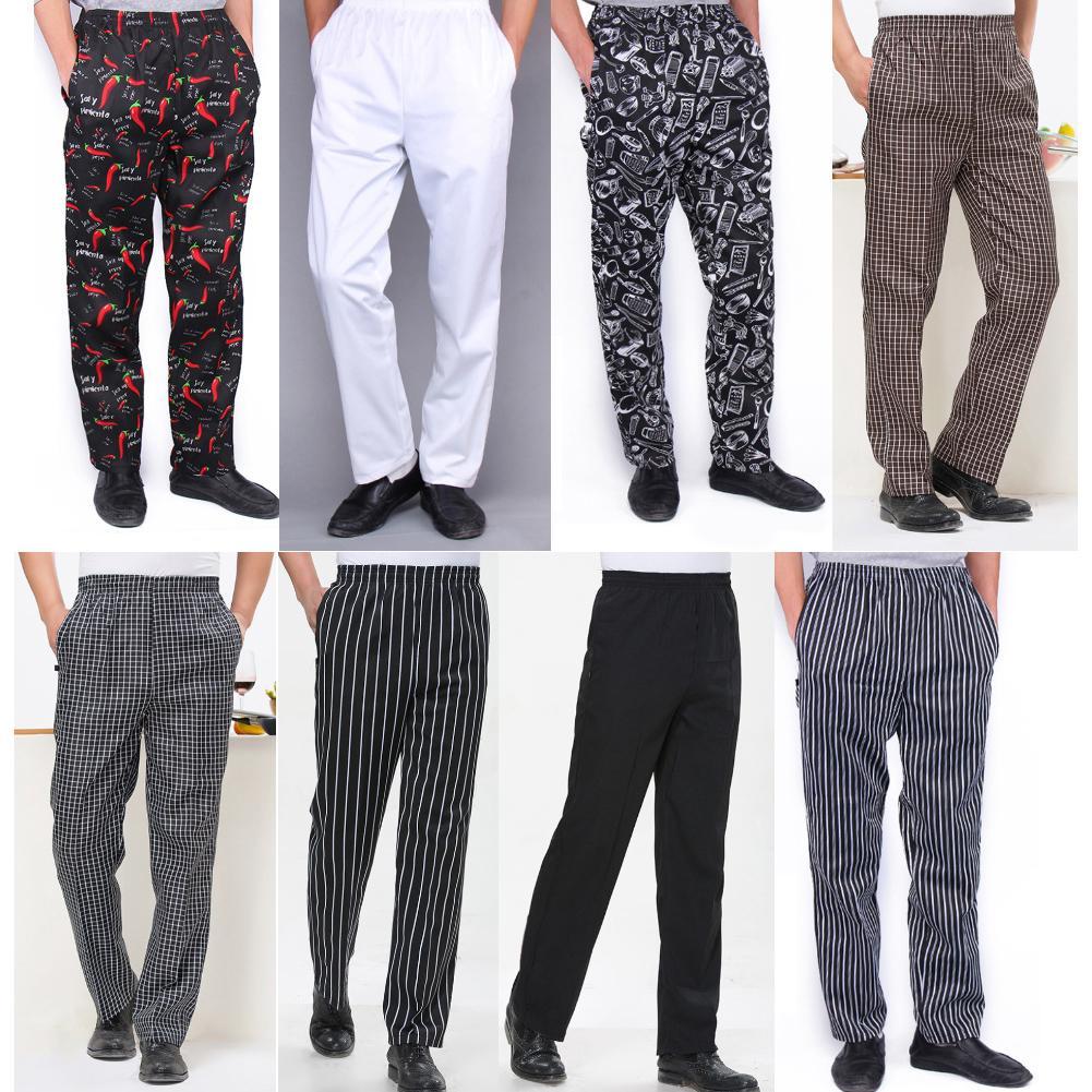 Men Stripe Plaid Chili Printed Hotel Restaurant Kitchen Chef Work Long Pants